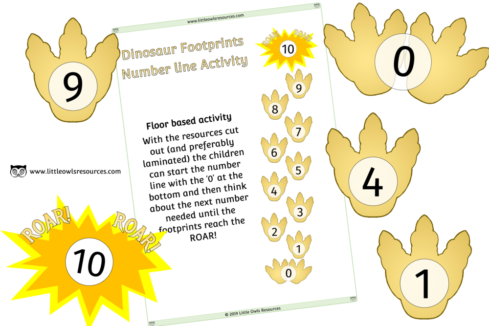 DINOSAUR FOOTPRINT NUMBER LINE FLOOR ACTIVITY