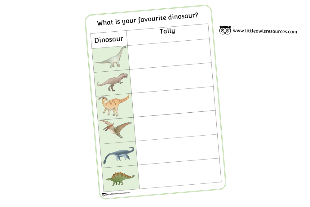 DINOSAUR TALLY CHART/CHECK LIST