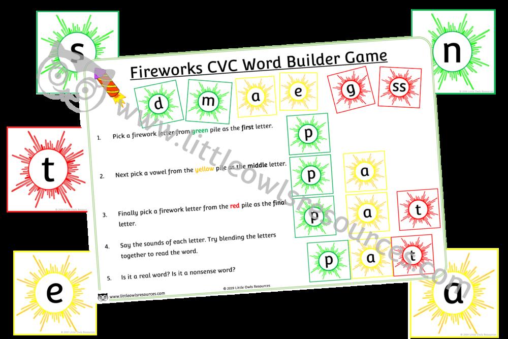 Fireworks CVC word builder game