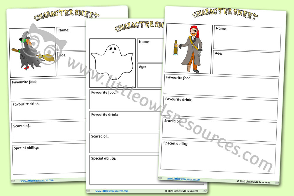 Halloween Character Description Sheets
