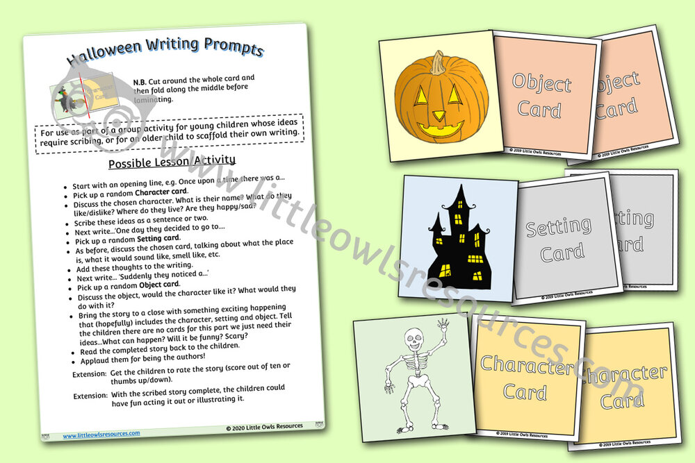 Halloween Story Writing Prompt Cards