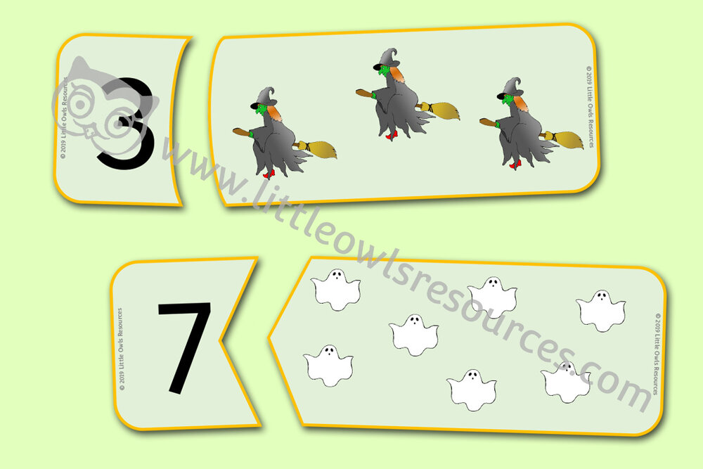 Halloween Counting Number Puzzles 1-20