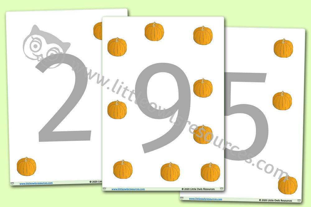 Pumpkin Number Playdough Mats