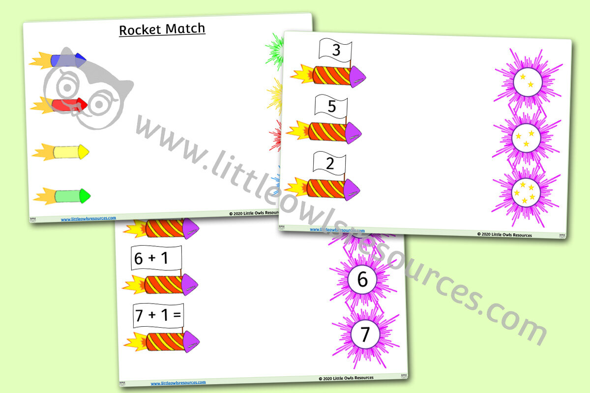 FREE Rocket Match Colours & Numbers printable Early Years/EY EYFS ...