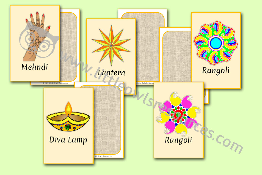 Diwali picture snap/memory game word cards/posters