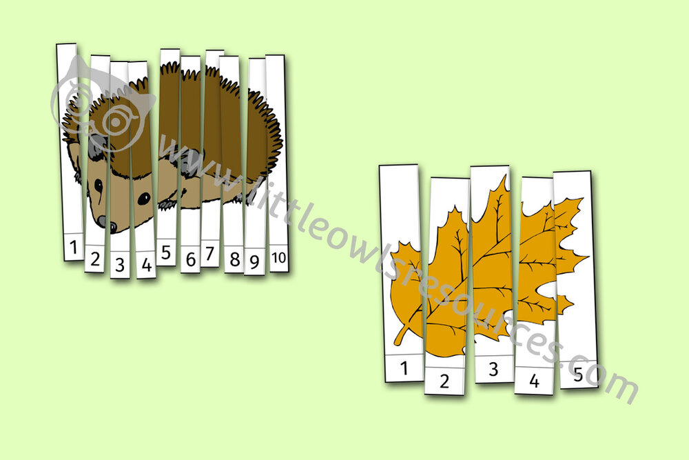 Autumn Number Slice Puzzles