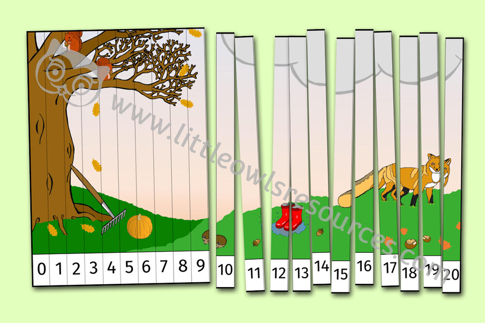 0-20 'AUTUMN' NUMBER SLICE PUZZLE PICTURE