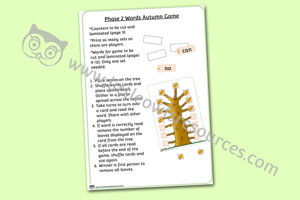 Phase 2 Words Autumn Game