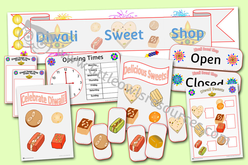 Diwali sweet shop role play area pack
