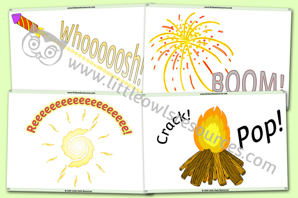 Firework onomatopoeic/phase 1 sound cards/posters