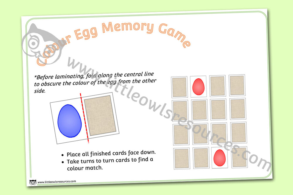 Colour Egg Memory Activity/Game