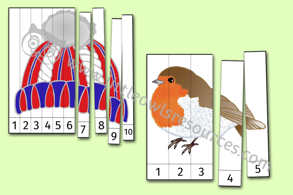 Winter Number Ordering Slice Puzzle Picture Activities
