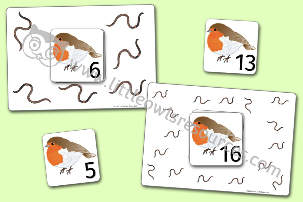 Winter Robin/Worms Number/Counting Activity
