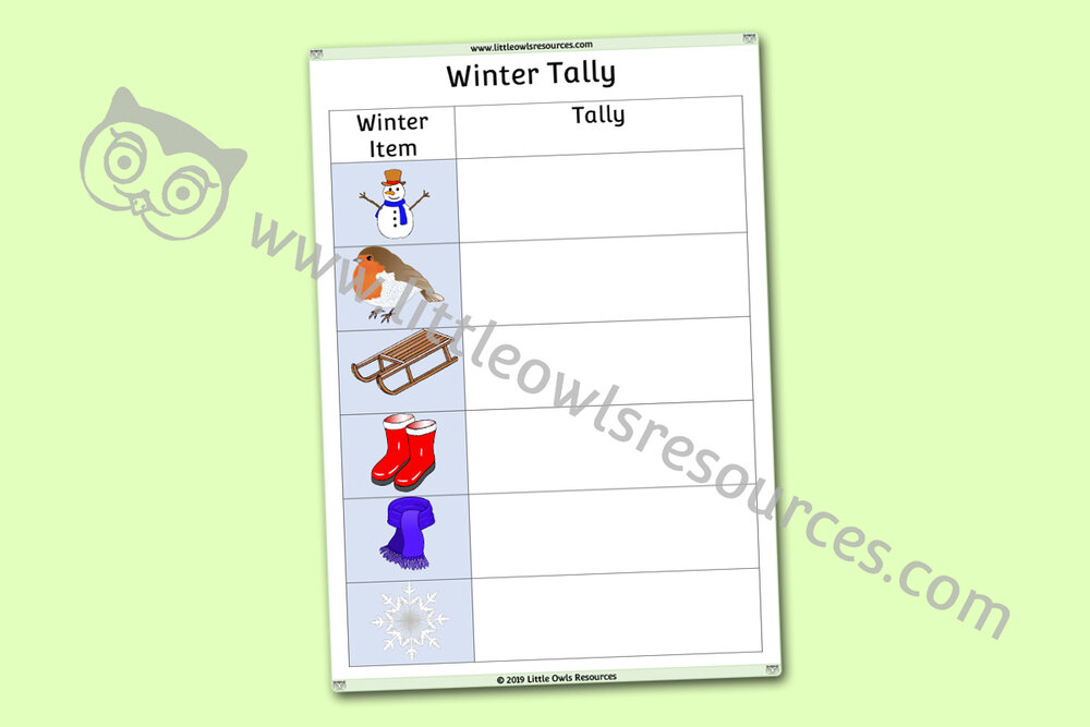 Winter Tally Chart/Check List Activity/Prompt