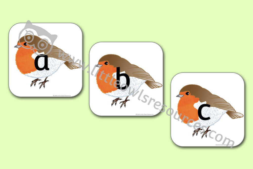 Winter Robin Alphabet Cards/Posters/Display