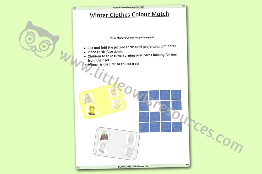 Winter Clothes Colour Match Memory Game