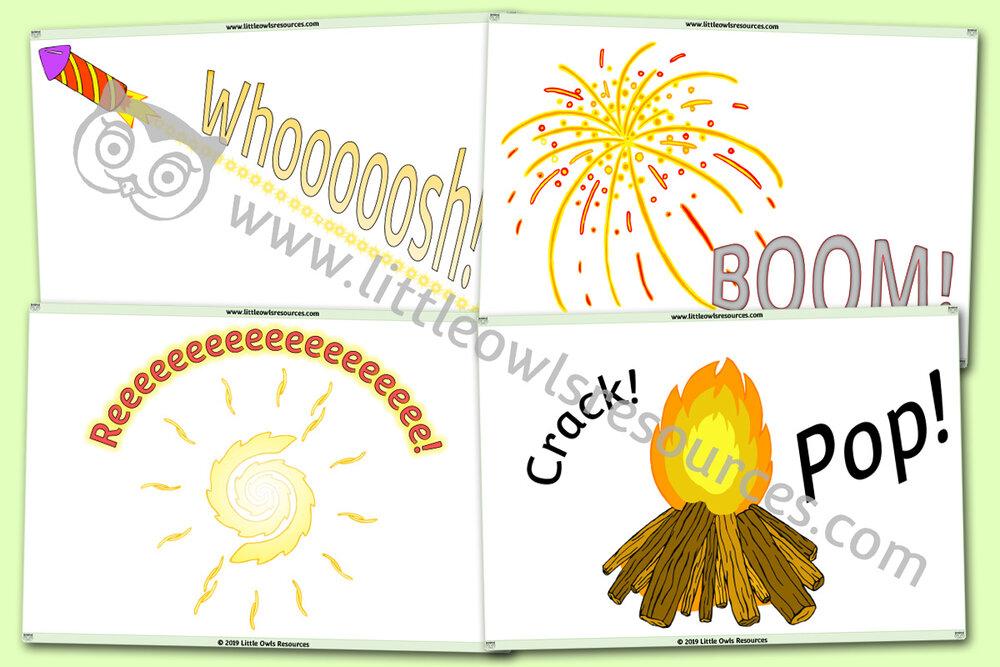 Fireworks/Onomatopoeic sound posters