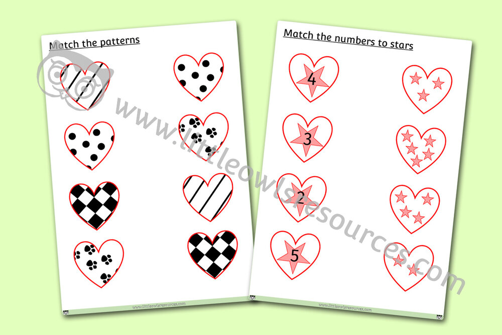 Match The Heart Sheets - Patterns, Shapes, Numbers