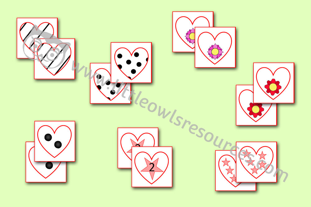 Match the Heart Cards - Patterns, Shapes, Numbers