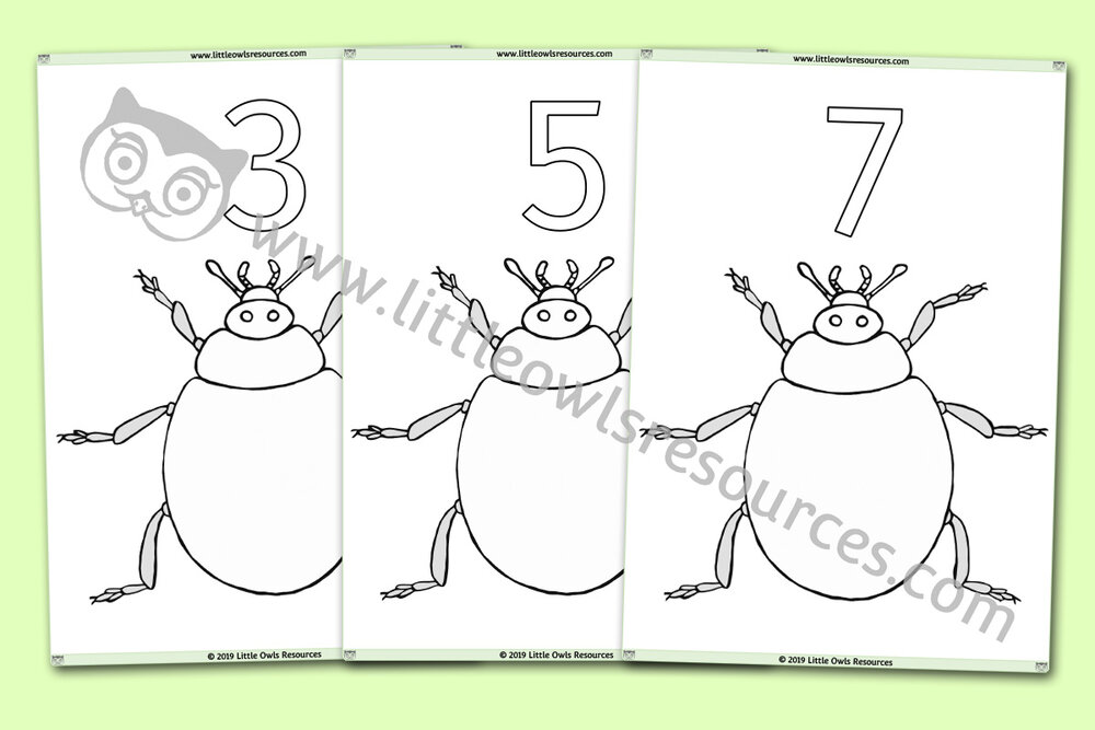 Ladybird Finger Painting/Loose Parts/Collage/Playdough/Colouring Number Sheets