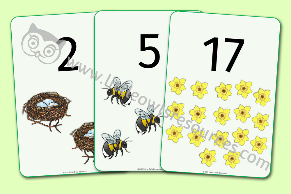 0-20 Spring Counting Display/Flashcards