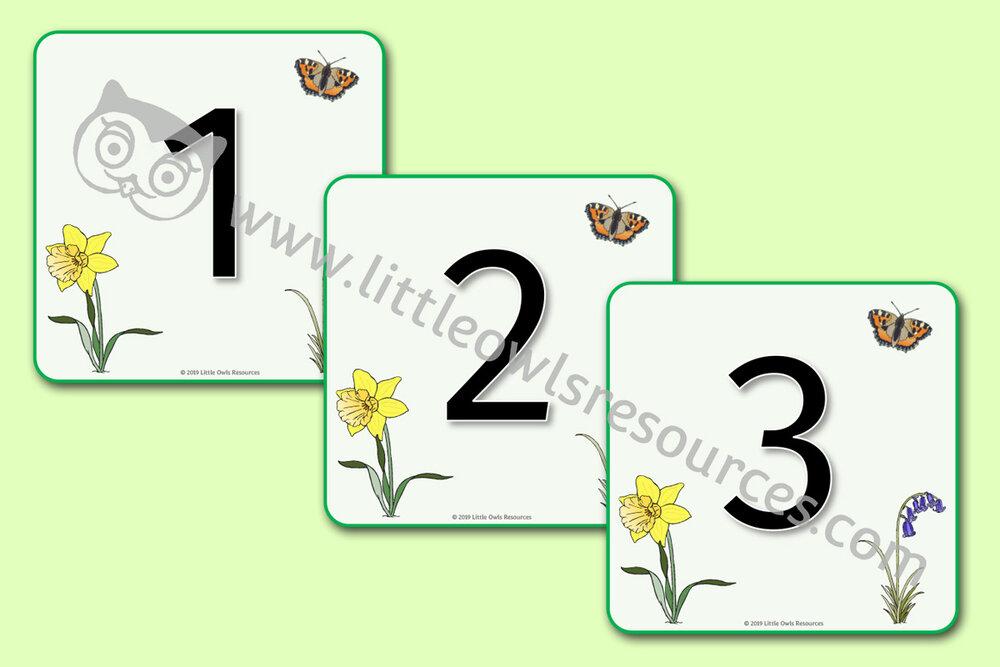 Spring Numberline/Flashcards 0-25