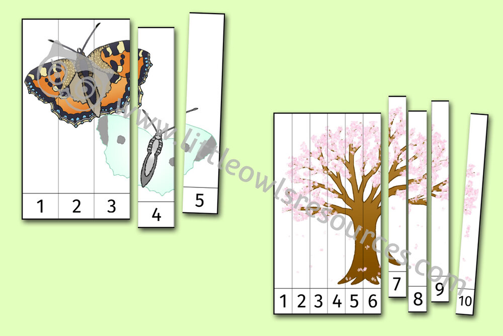 Spring Number Slice Puzzle Activities