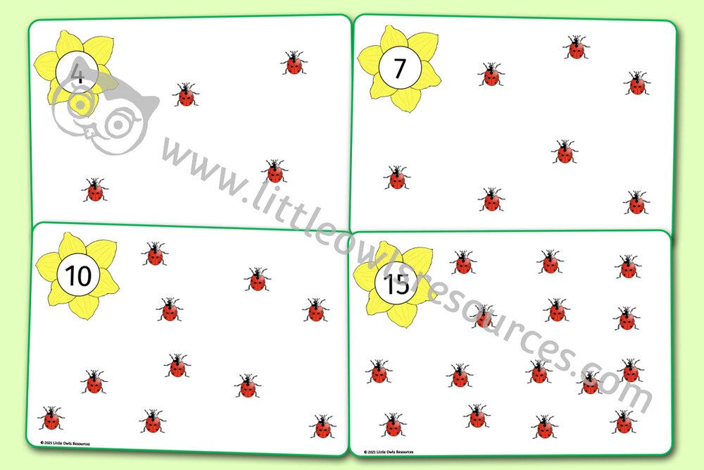 Ladybird Playdough/Loose Part Counting Mats