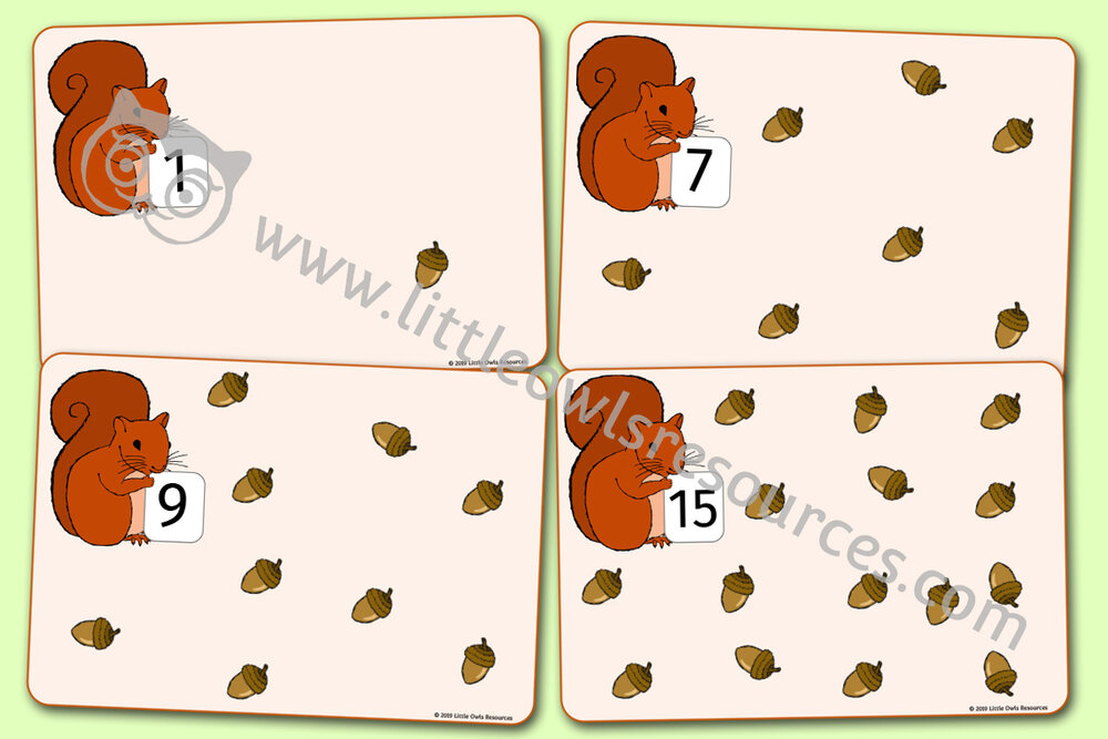 1-20 'AUTUMN' SQUIRREL AND ACORN PLAYDOUGH/LOOSE PART NUMBER MATS