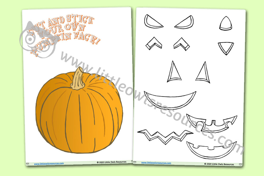 Halloween Cut and Stick Pumpkin Face Design