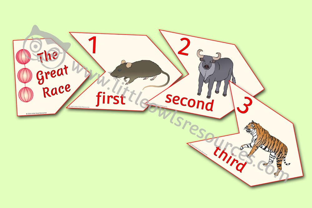 Chinese New Year - Ordinal Numbers Floor Puzzle - The Great Race