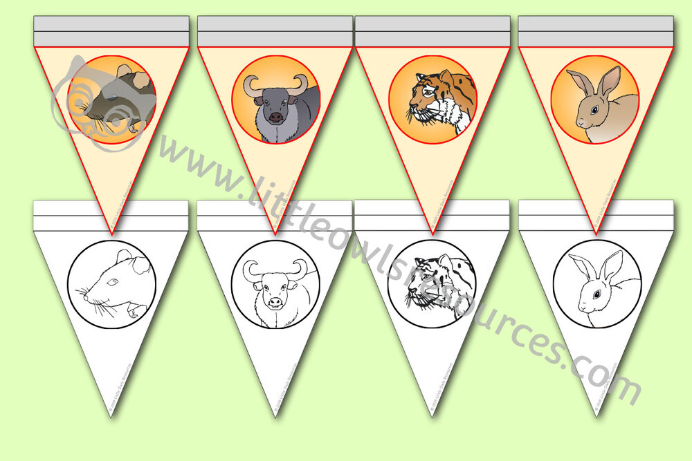 Chinese New Year Animal Zodiac Bunting