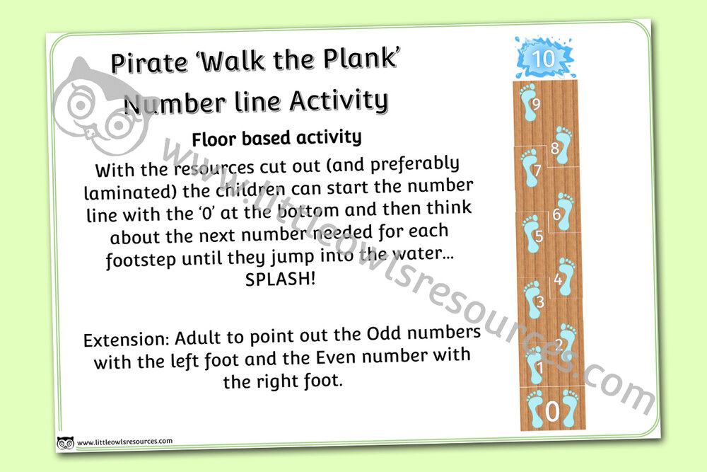 Pirate 'Walk the Plank' Number Line Activity