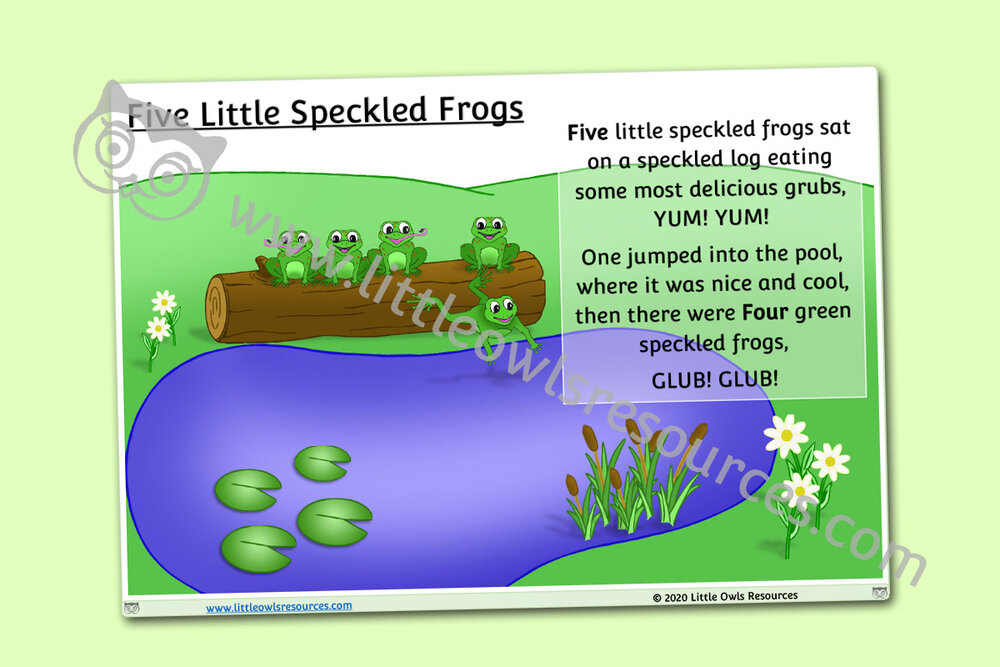 Five Little Speckled Frogs words