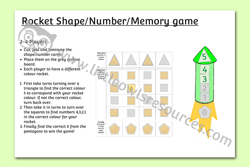 Rocket shape/number/counting memory game/activity