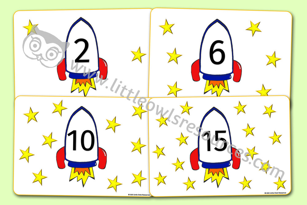1-20 'SPACE' ROCKET AND STARS PLAYDOUGH/LOOSE PART NUMBER MATS
