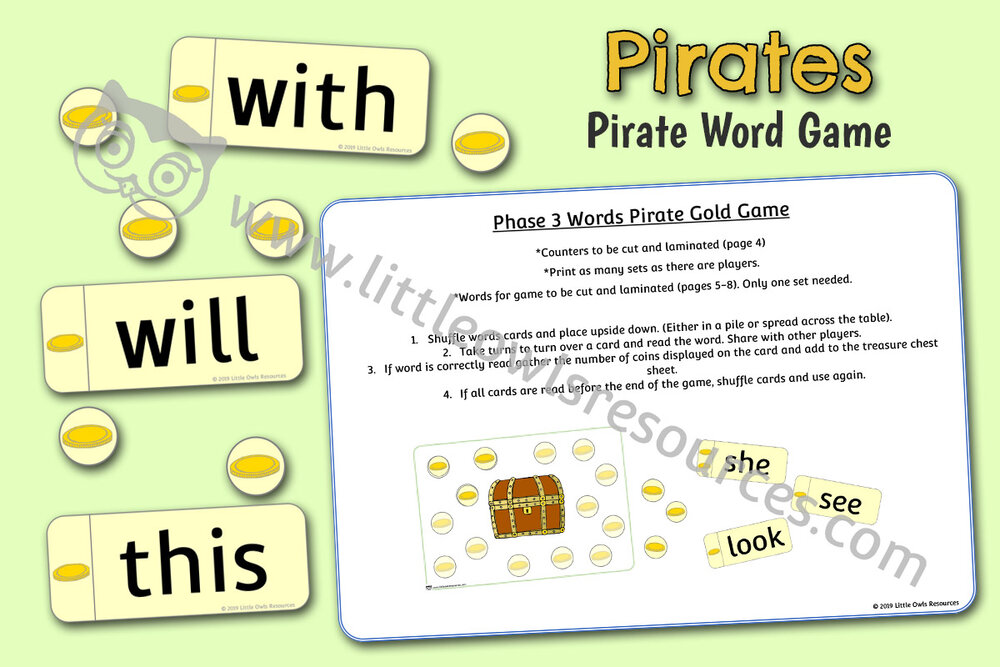 Phase 3 Words Pirate Gold Game