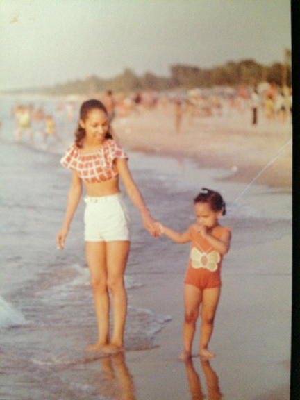 Me and Mom at the beach. I was never a fan of water.