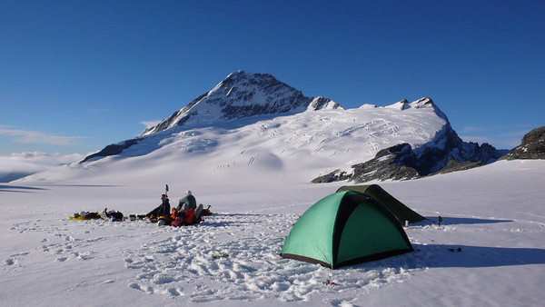 Camping on the Bonar Glacier in New Zealand