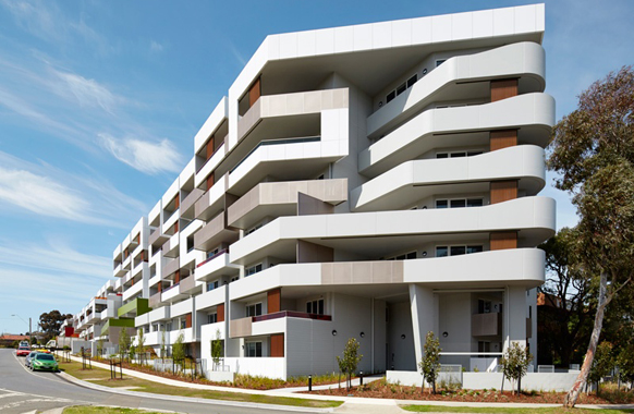 An example of what the 'aggregator' could fund is this apartment project in Chadstone, Melbourne, where 75% of units offer below market rents. Photo: PPHA