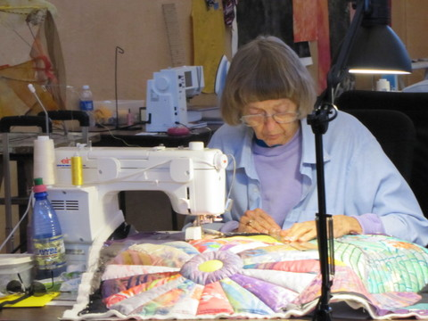 Shelannia working on that quilt