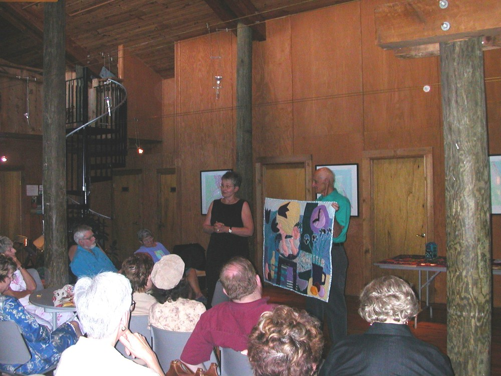 2004: Pamela Allen and Maxine Farkas were invited to Atlantic Center for the Arts for the first retreat. Marc Middleton. local newscaster and quilter gave a lecture with dinner in the Commons where Chef Tom serves our wonderful meals.