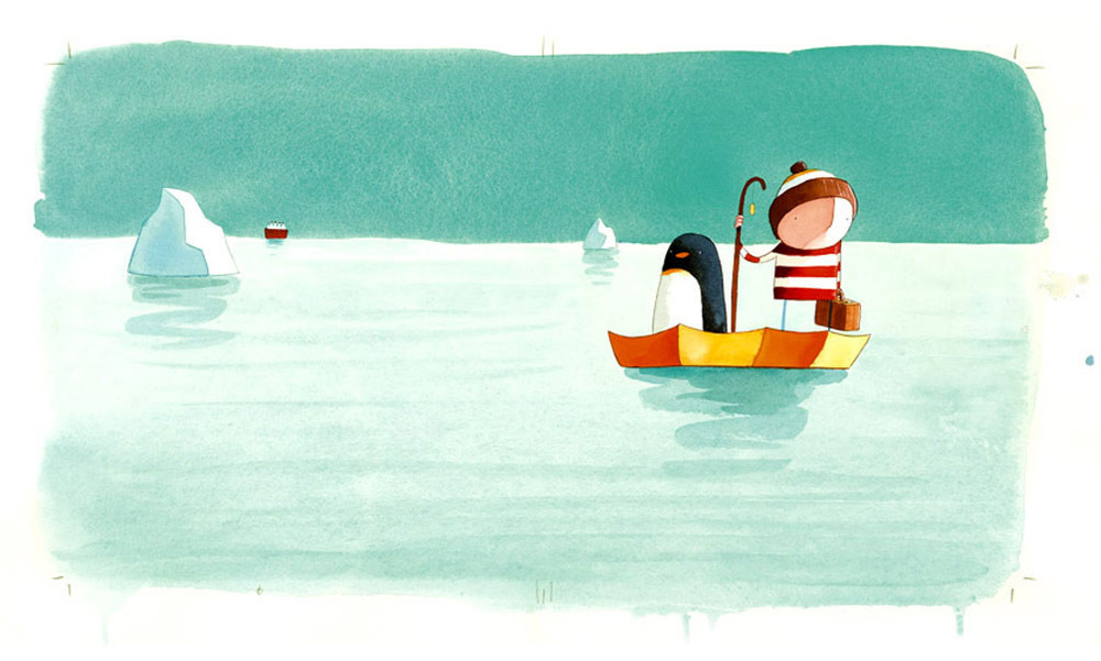 Oliver Jeffers artwork for book cover: Lost and Found