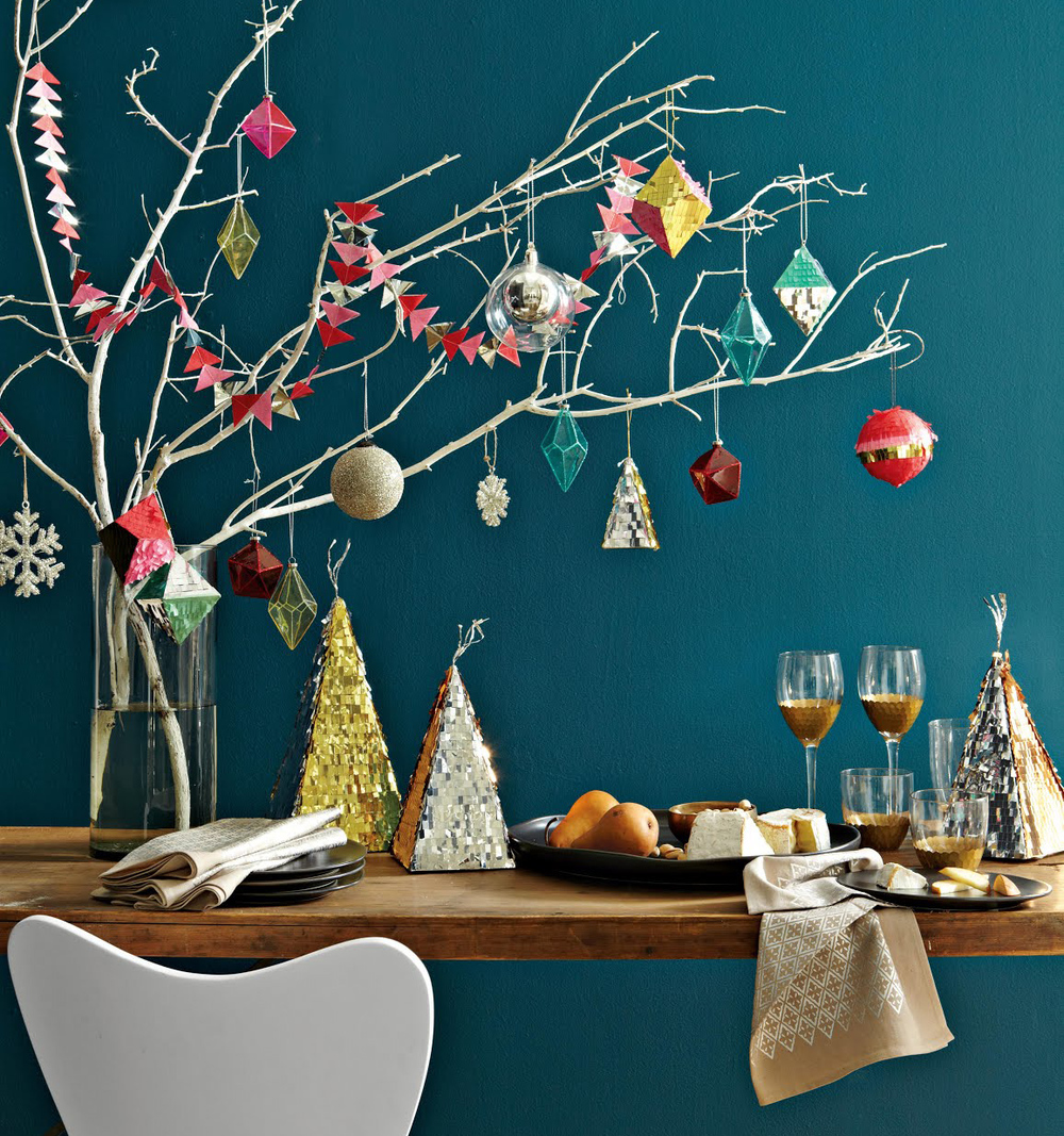 Confetti System ornaments and garland for West Elm