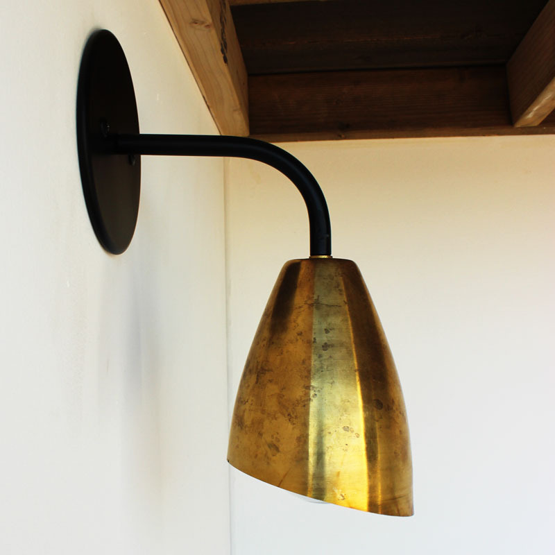 Brass shade wall sconce, $95