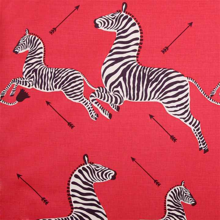 Scalamandre Zebras wallpaper in Masai Red, to the trade only