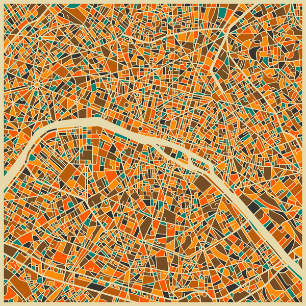Paris map by Jazzberry Blue $19-64