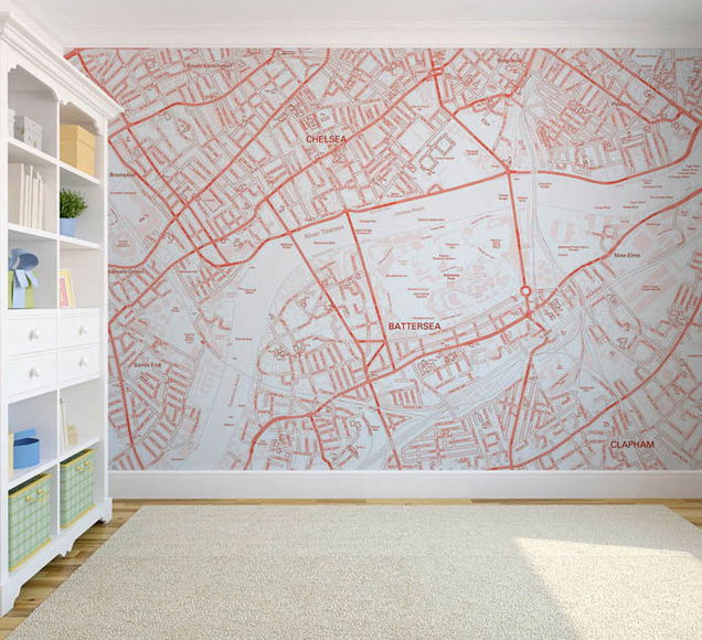 Custom map wallpaper, from $52 per square meter