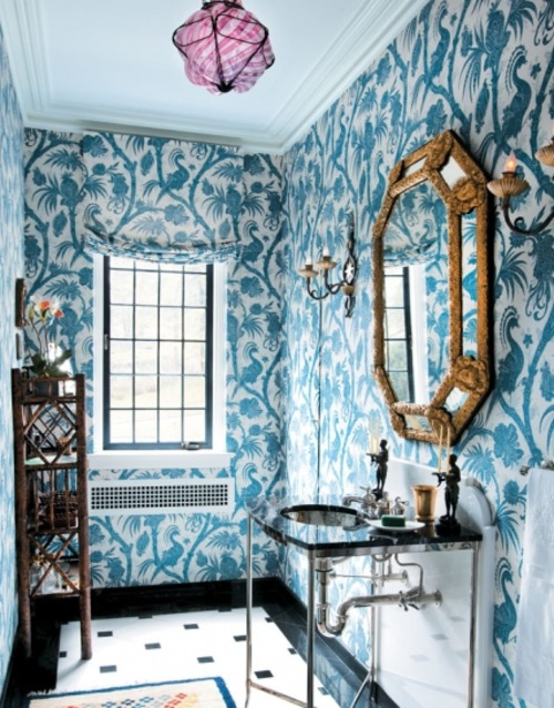 Blue White Bathroom Wallpaper Blue White Wallpaper Bathroom