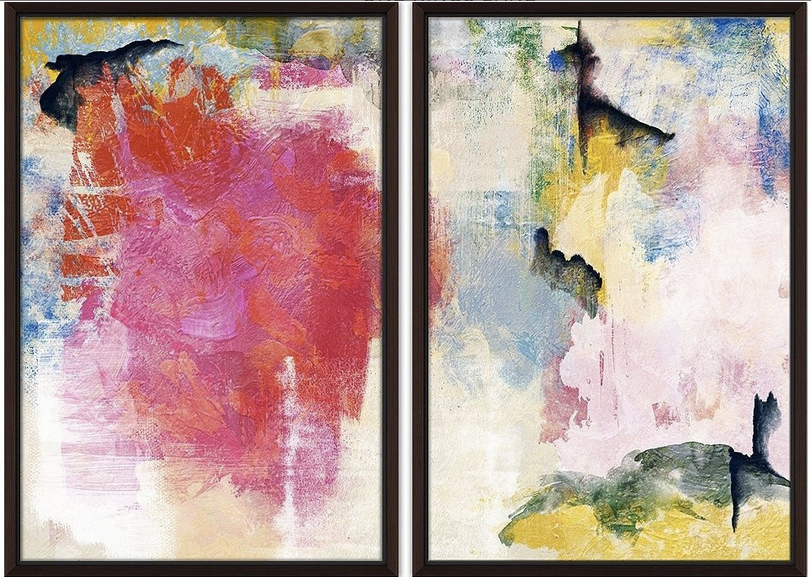 "Colorful Strokes diptych, 44"" x 32"", $299"